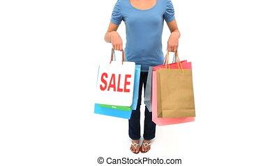 kobieta, pokaz, jej, shopping torby