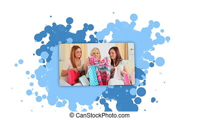 kobieta, pokaz, kobiety, po, zakupy