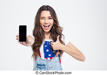 kobieta, pokaz, radosny, smartphone, okienko osłaniają