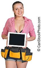kobieta, pokaz, tabliczka, instrument, pc, okienko osłaniają, pasek