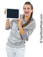 kobieta, pokaz, tabliczka, sweter, pc, okienko osłaniają, szczęśliwy