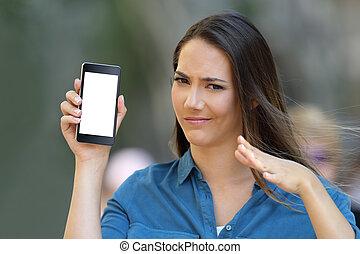 kobieta, pokaz, wątpliwy, telefon, okienko osłaniają