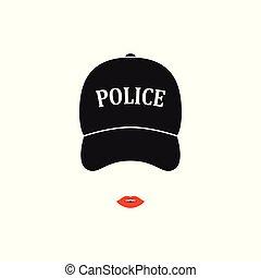 kobieta, policja, odizolowany, tło., biały, ikona