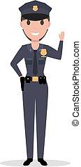 kobieta, policyjny mundur, wektor, oficer, rysunek