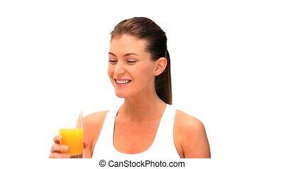 kobieta, pomarańcza, pijący sok