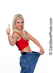 kobieta, pomyślny, po, dieta, wielki, kalesony