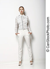 kobieta, pose., wiosna, fashion., zbiór, bryczesy, wysoki,...