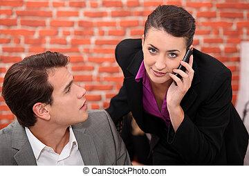 kobieta, posiadanie, phonecall, młody