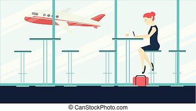 kobieta posiedzenie, i, usługiwanie, w, lotnisko, kawa