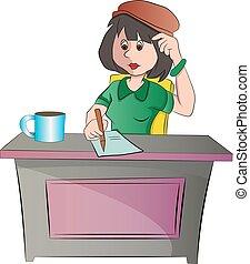 kobieta posiedzenie, ilustracja, biurko, albo, sekretarka