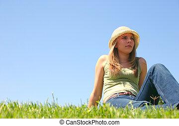 kobieta posiedzenie