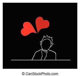 kobieta posiedzenie, serca, śliczny, czerwony, szczęśliwy