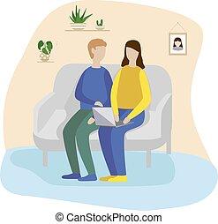 kobieta posiedzenie, sofa, laptop., młody, dzierżawa, dziewczyna, home., człowiek