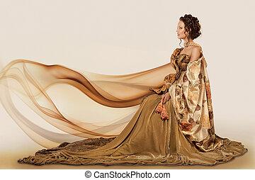 kobieta posiedzenie, w, niejaki, suknia