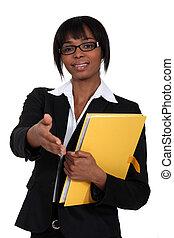 kobieta, potrząsanie, afrykanin, siła robocza