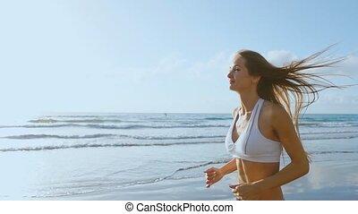 kobieta, powolny, pasaż, coast., figura, następstwo,...