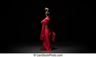 kobieta, powolny, studio, motion., brzuch, wzdryga się, ciemny, taniec, taniec