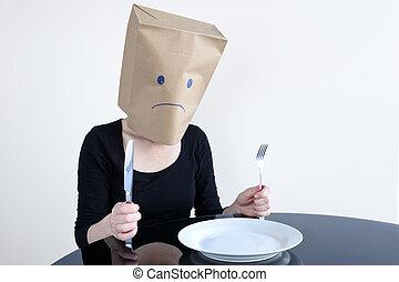 kobieta, pozować, plat, anonimowy, sam, stół, smutny, opróżniać
