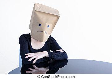 kobieta, pozować, smutny, anonimowy, sam, stół
