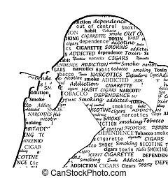kobieta, próbka, sylwetka, palenie, typografia, papieros