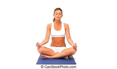 kobieta, practicing, yoga