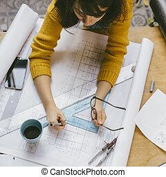 kobieta, pracujący, górny, projekt, architekt, architektoniczny, prospekt wnętrza, design.