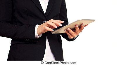 kobieta, pracujący, tabliczka, handlowy, samica, cyfrowy