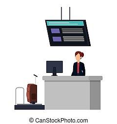 kobieta, pracujący, w, checkin, lotnisko, miejsce