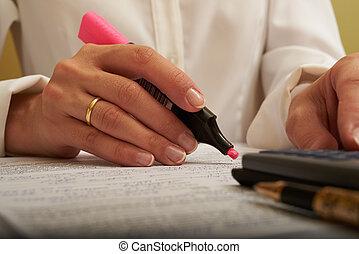 kobieta, pracujący, z, dokumenty