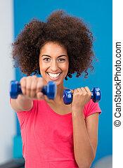kobieta, pracujący, zdrowy, sala gimnastyczna, młody, poza,...
