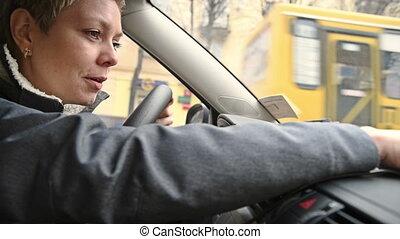 kobieta, programowanie, wóz, kierowca, nawigator, gps