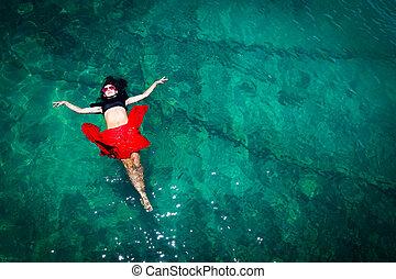 kobieta, prospekt, antena, morze