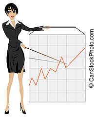 kobieta, przedstawiając, handlowy