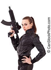 kobieta, przedstawianie, pistolety