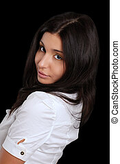 kobieta przeglądnięcie, łopatka, hispanic