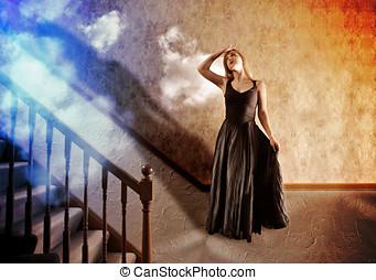 kobieta przeglądnięcie, do góry, na, jasne światło, od, nadzieja