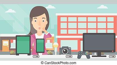 kobieta przeglądnięcie, na, sklep, okno.