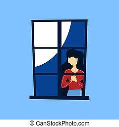 kobieta przeglądnięcie, poza, od, przedimek określony przed rzeczownikami, zamknięty, okno