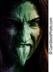 kobieta, przerażenie, zły, twarz, straszliwy