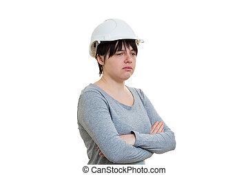 kobieta, przewrócić, inżynier