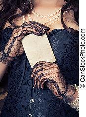 kobieta, przy czarnoskórym, gorset, i, perły, i, dzierżawa,...