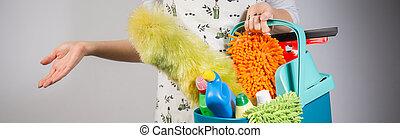 kobieta, przygotowując, czysty