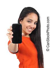 kobieta, przypadkowy, smartphone, muslim, pokaz, ekran, czysty, piękny