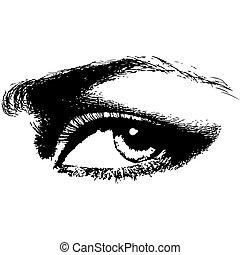 kobieta przypatrują się, piękno, ilustracja, wektor, ludzki