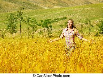 kobieta, pszeniczysko
