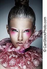 kobieta, purpurowy, makijaż, -, twarz, jasny, szykowny, twórczy, art.