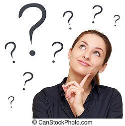 kobieta, pytania, handlowy, myślenie, dużo, do góry, marka, patrząc, tło, odizolowany, biały