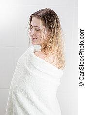 kobieta, ręcznik, długi, wanna, włosy, portret, sexy