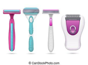 kobieta, razor., odizolowany, realistyczny, higiena, wektor, samica, golarze, komplet, golenie