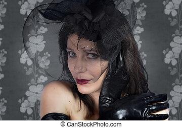 kobieta, rocznik wina, młody, czarne tło, portret, welon, ładny